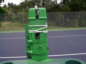 L&M Gear on a net post that has been painted green. (crank removed)